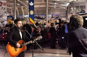 Jack Connolly performs The Unknown Soldier at the Warplane Museum for the CHCH show in Hamilton.